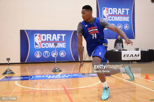 Damian Jones completes a Shuttle Run skills test during the 2016 NBA Draft Combine on May 12 2016 at the Quest Multisport in Chicago Illinois NOTE TO...