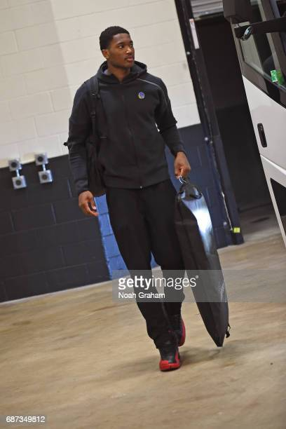 Damian Jones of the Golden State Warriors arrives at the arena before Game Four of the Western Conference Finals against the San Antonio Spurs during...