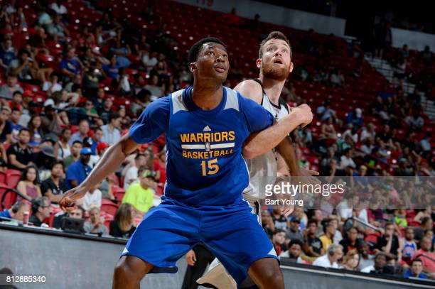 Damian Jones of the Golden State Warriors boxes out against the Minnesota Timberwolves on July 11 2017 at the Thomas Mack Center in Las Vegas Nevada...