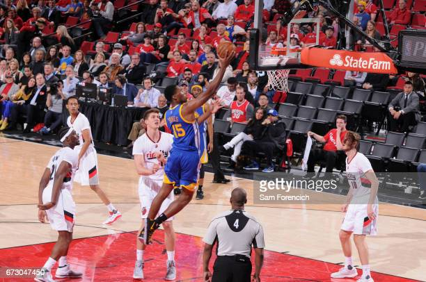 Damian Jones of the Golden State Warriors goes to the basket against the Portland Trail Blazers during Game Four of the Western Conference...