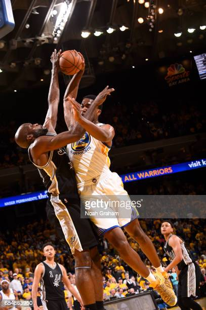 Damian Jones of the Golden State Warriors goes to the basket against the San Antonio Spurs during Game Two of the Western Conference Finals of the...