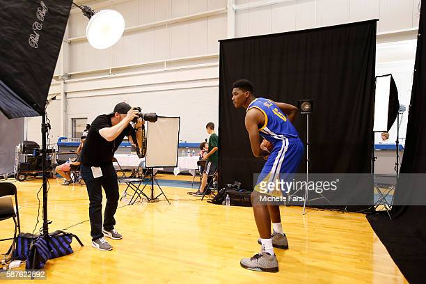 Damian Jones of the Golden State Warriors poses for a portrait during the 2016 NBA rookie photo shoot on August 7 2016 at the Madison Square Garden...