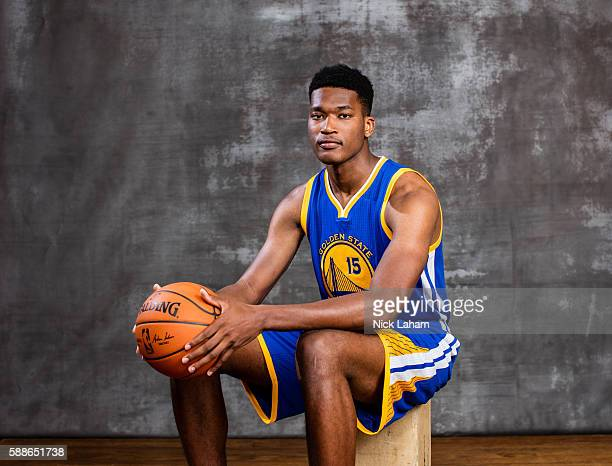 Damian Jones of the Golden State Warriors poses for a portrait during the 2016 NBA Rookie Photoshoot at Madison Square Garden Training Center on...