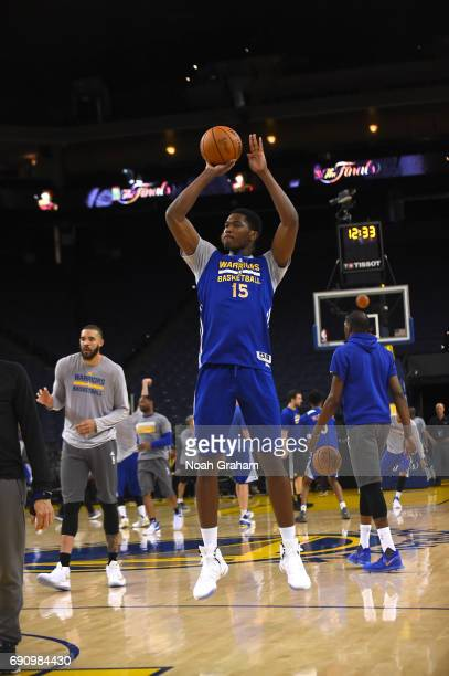 Damian Jones of the Golden State Warriors shoots during practice and media availability as part of the 2017 NBA Finals on May 31 2017 at ORACLE Arena...
