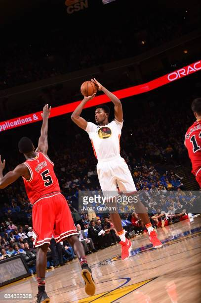 Damian Jones of the Golden State Warriors shoots the ball against the Chicago Bulls on February 8 2017 at ORACLE Arena in Oakland California NOTE TO...