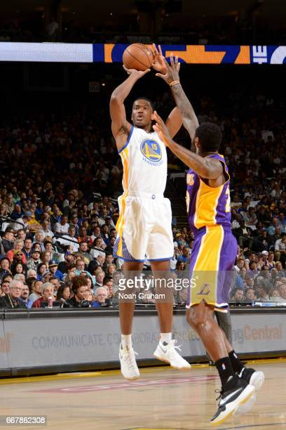 Damian Jones of the Golden State Warriors shoots the ball against the Los Angeles Lakers on April 12 2017 at ORACLE Arena in Oakland California NOTE...