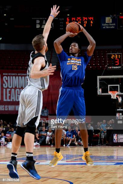 Damian Jones of the Golden State Warriors shoots the ball against the Minnesota Timberwolves on July 11 2017 at the Thomas Mack Center in Las Vegas...