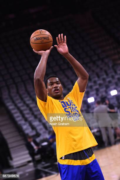 Damian Jones of the Golden State Warriors warms up before Game Four of the Western Conference Finals against the San Antonio Spurs during the 2017...