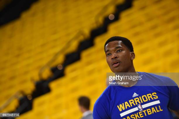 Damian Jones of the Golden State Warriors warms up before the game against the Cleveland Cavaliers in Game Two of the 2017 NBA Finals on June 4 2017...