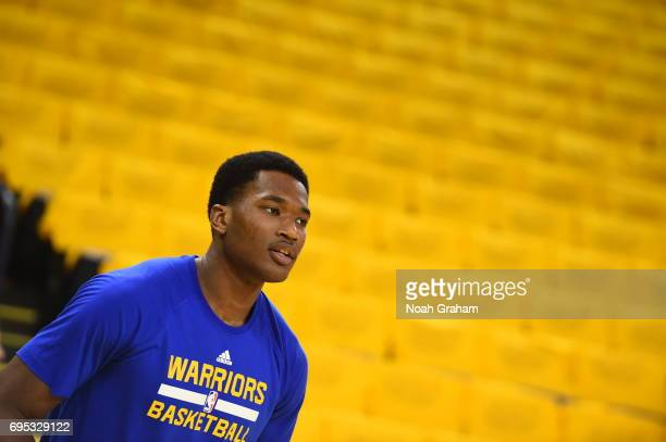 Damian Jones of the Golden State Warriors warms up before the game against the Cleveland Cavaliers in Game Five of the 2017 NBA Finals on June 12...