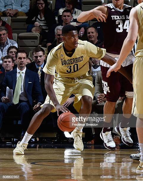 Damian Jones of the Vanderbilt Commodores plays against the Texas AM Aggies at Memorial Gym on February 4 2016 in Nashville Tennessee