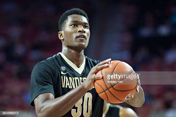 Damian Jones of the Vanderbilt Commodores shoots a free throw during a game against the Arkansas Razorbacks at Bud Walton Arena on January 5 2016 in...
