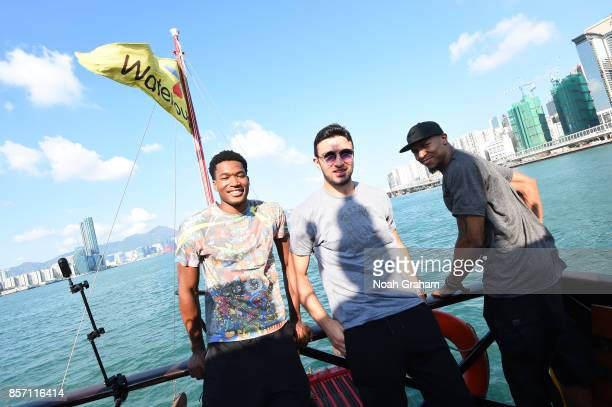 Damian JonesZaza Pachulia and David West and Assistant Coach Mike Brown of the Golden State Warriors takes in some sights around Hong Kong as part of...