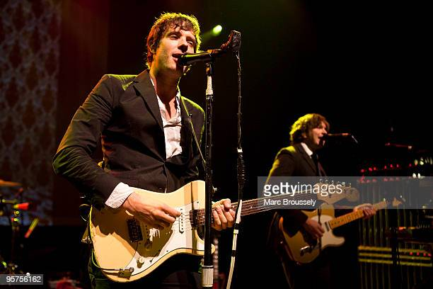 Damian Kulash and Andy Ross of OK Go perform on stage at Shepherds Bush Empire on January 13 2010 in London England