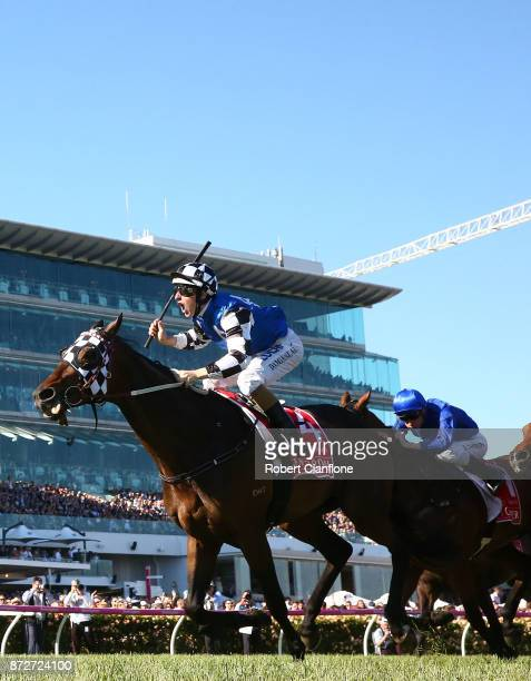 Damian Lane rides Tosen Stardom to win race eight the Emirates Stakes during 2017 Stakes Day at Flemington Racecourse on November 11 2017 in...