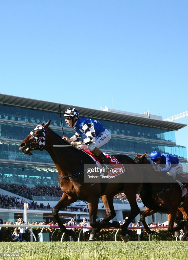 Damian Lane rides #4 Tosen Stardom to win race eight the Emirates Stakes during 2017 Stakes Day at Flemington Racecourse on November 11, 2017 in Melbourne, Australia.
