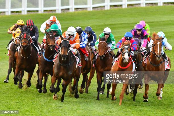 Damian Lane riding Ebediyin turns into home straight before winning Race 3 during Melbourne Racing at Moonee Valley Racecourse on September 9 2017 in...