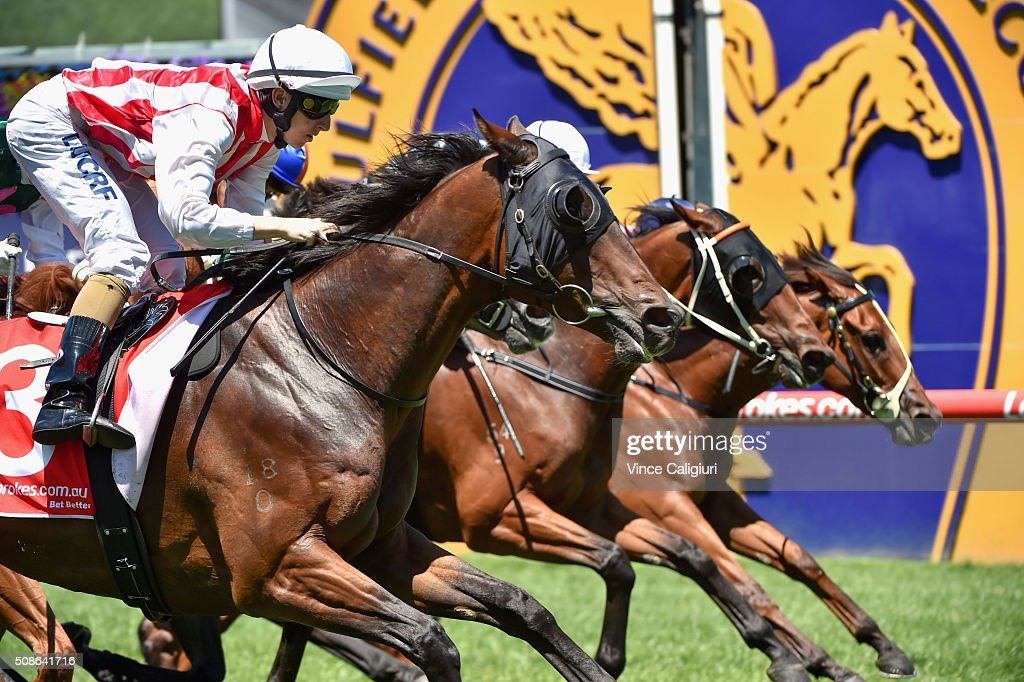 Damian Lane riding Golden Mane wins Race 1, during Melbourne Racing at Caulfield Racecourse on February 6, 2016 in Melbourne, Australia.