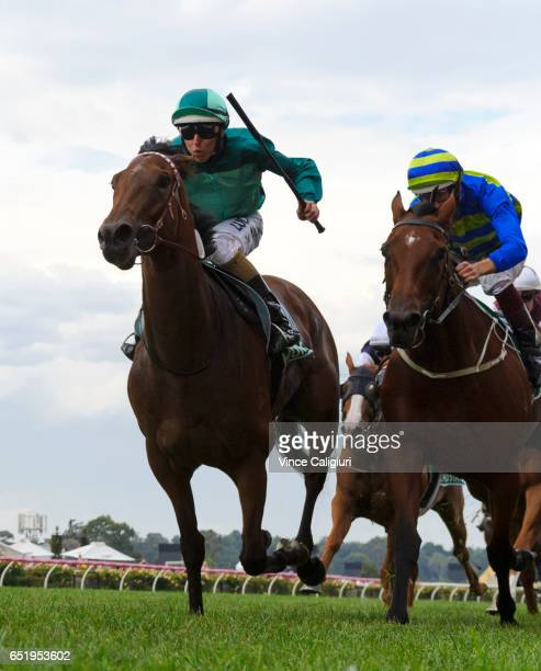 Damian Lane riding Humidor defeats Hugh Bowman riding Jameka in Race 8 TAB Australian Cup during Melbourne Racing at Flemington Racecourse on March...