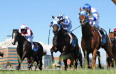 Damian Lane riding Karacatis defeats Vlad Duric riding Kneeling and Matthew Allen riding It is Written in Race 7 the Christmas Stakes during...