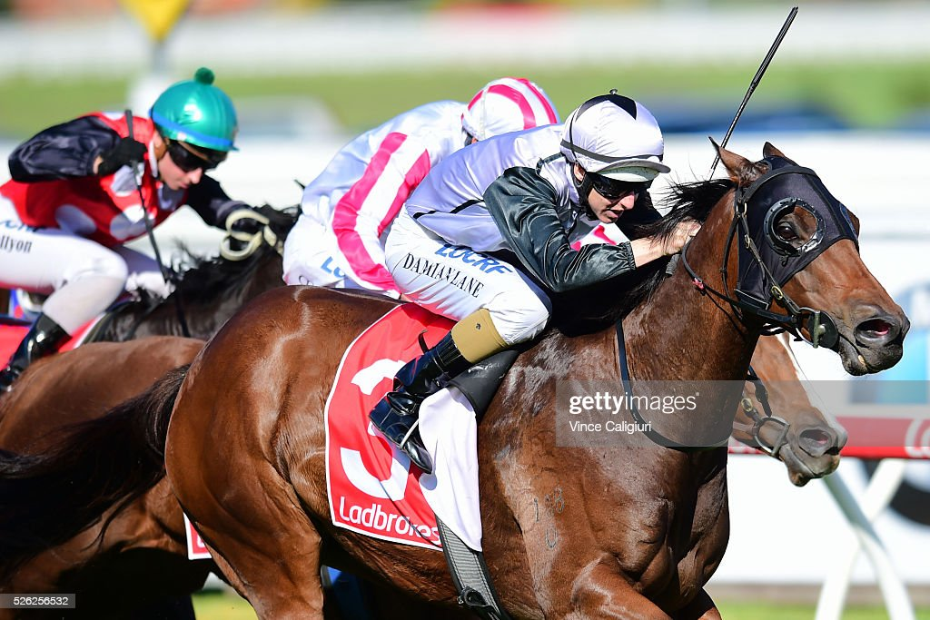 Damian Lane riding Kayjay's Joy wins Race 4, during Melbourne Racing at Caulfield Racecourse on April 30, 2016 in Melbourne, Australia.