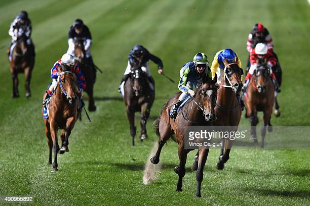 Damian Lane riding Keen Array wins Race 1 during Melbourne Racing at Moonee Valley Racecourse on October 2 2015 in Melbourne Australia