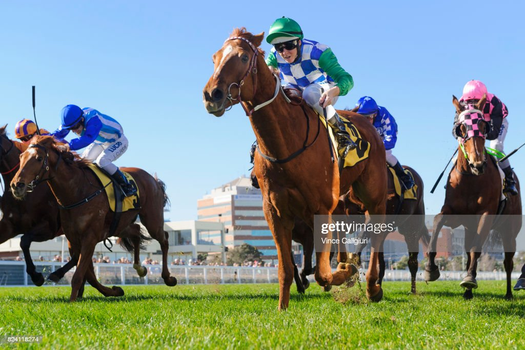 Damian Lane riding Kiwia wins Race 2 during Melbourne Racing at Caulfield Racecourse on July 29, 2017 in Melbourne, Australia.