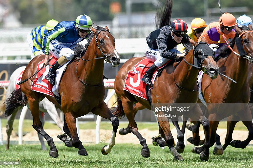 Damian Lane riding Risque wins Race 2, the Kevin Hayes Stakes during Melbourne Racing at Caulfield Racecourse on February 13, 2016 in Melbourne, Australia.