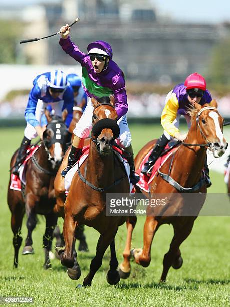 Damian Lane riding Sacred Eye celebrates winning race 5 The Ladbrokes Caulfield Classic during Caulfield Cup Day at Caulfield Racecourse on October...