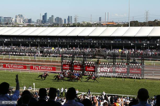 Damian Lane riding Tosen Stardom wins race 8 the Emirates Stakes during 2017 Stakes Day at Flemington Racecourse on November 11 2017 in Melbourne...
