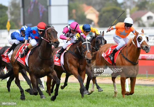 Damian Lane riding Ulmann wins Race 6 Moonga Stakes during Melbourne Racing on Caulfield Cup Day at Caulfield Racecourse on October 21 2017 in...