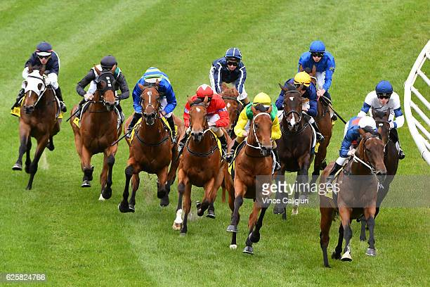 Damian Lane riding Wise Hero winning Race 4 during Melbourne racing at Moonee Valley Racecourse on November 26 2016 in Melbourne Australia