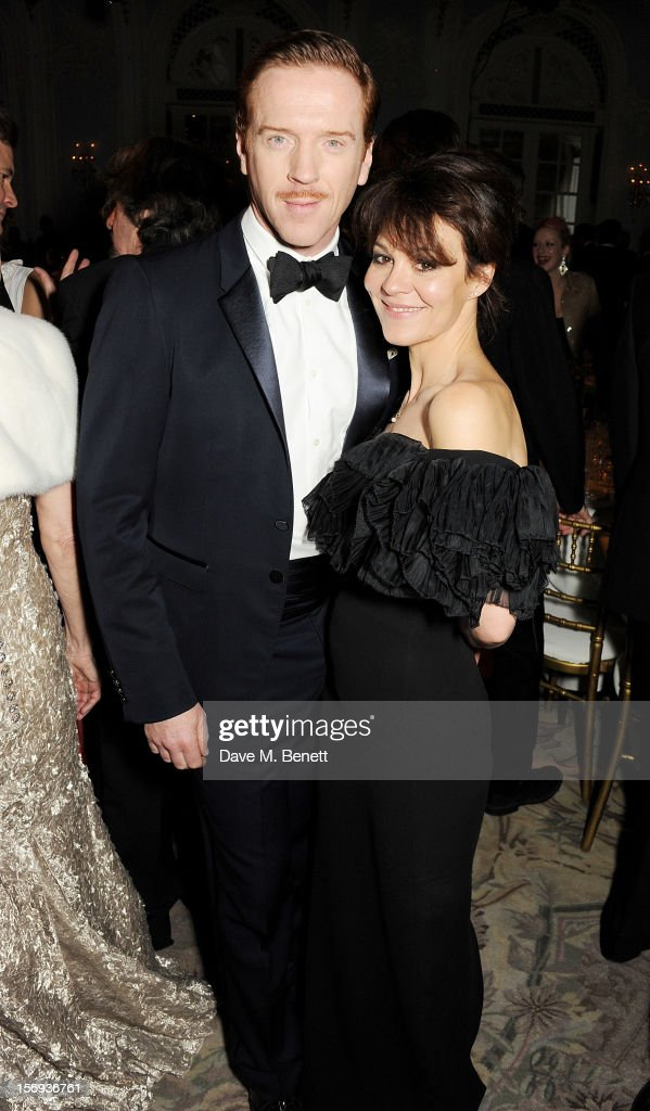 Damian Lewis (L) and Helen McCrory attend a drinks reception at the 58th London Evening Standard Theatre Awards in association with Burberry at The Savoy Hotel on November 25, 2012 in London, England.