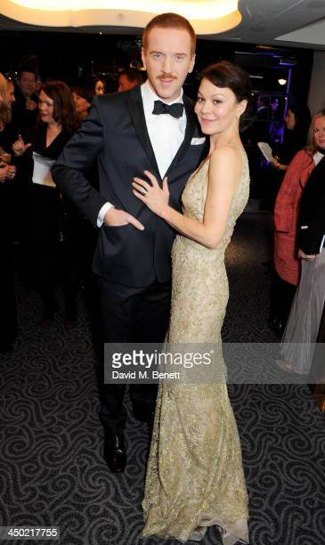 Damian Lewis and Helen McCrory attend a drinks reception at the 59th London Evening Standard Theatre Awards at The Savoy Hotel on November 17 2013 in...