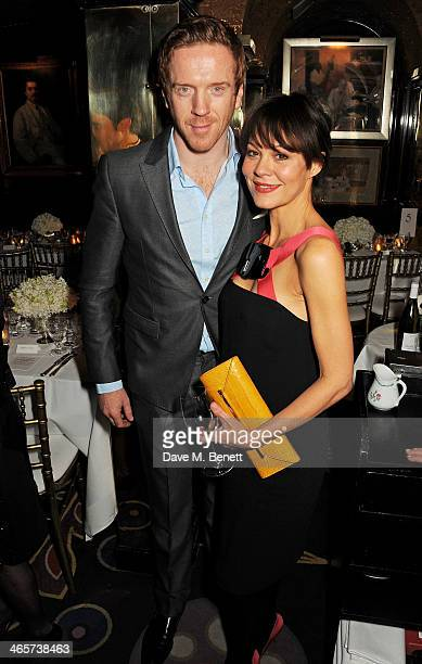 Damian Lewis and Helen McCrory attend the Charles Finch and Chanel PreBAFTA cocktail party and dinner at Annabel's on February 8 2013 in London...