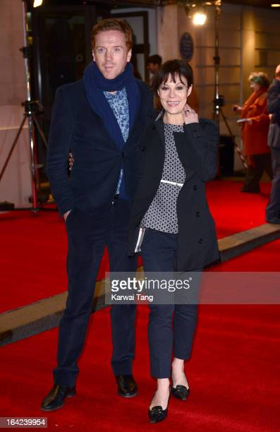 Damian Lewis and Helen McCrory attend the press night for 'The Book of Mormon' at Prince Of Wales Theatre on March 21 2013 in London England