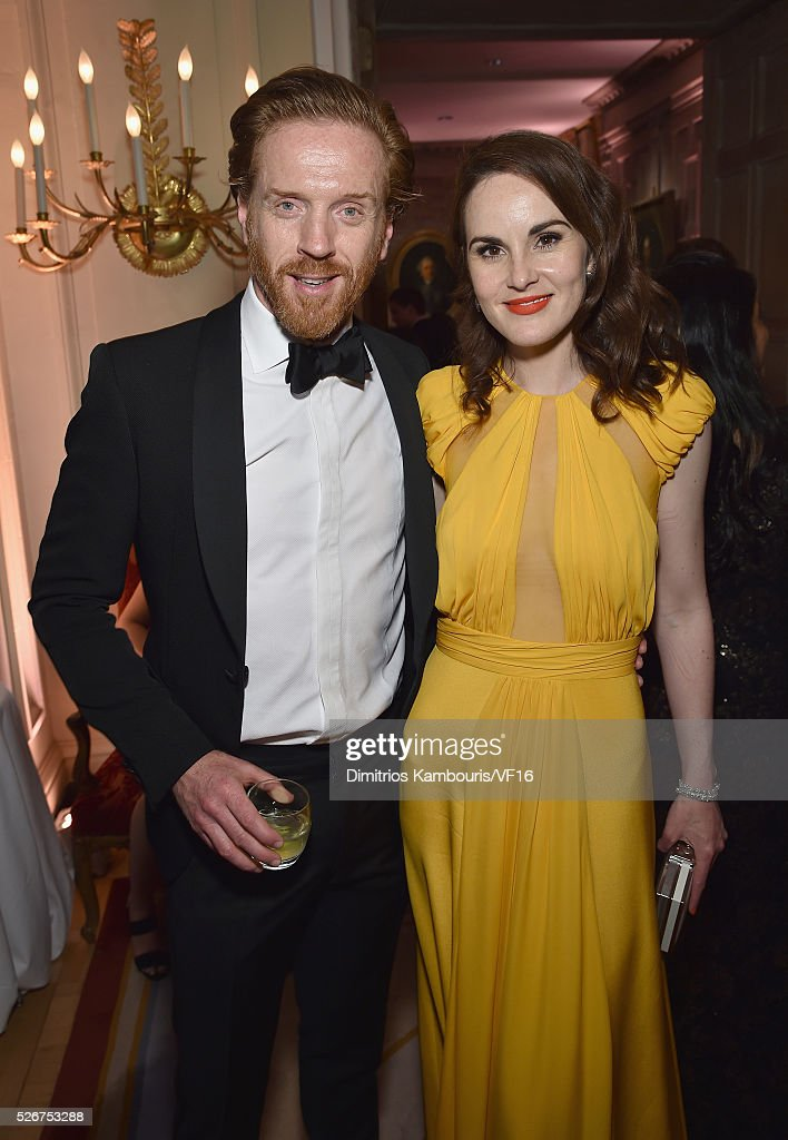 Damian Lewis and Michelle Dockery attend the Bloomberg & Vanity Fair cocktail reception following the 2015 WHCA Dinner at the residence of the French Ambassador on April 30, 2016 in Washington, DC.