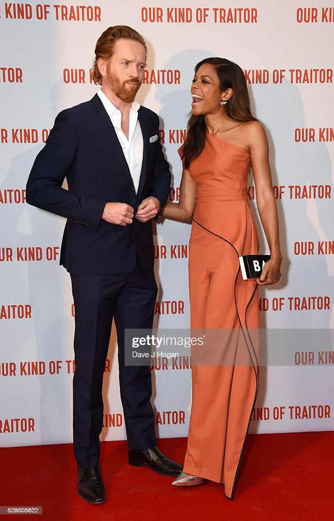 Damian Lewis (L) and Naomie Harris arrive for the UK Gala Screening of 'Our Kind Of Traitor' at The Curzon Mayfair on May 5, 2016 in London, England.
