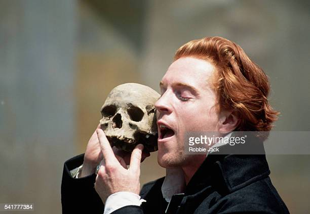 Damian Lewis as Hamlet reminisces about the dead jester Yorick in Act V Scene i of an Open Air Theatre production of Hamlet By William Shakespeare
