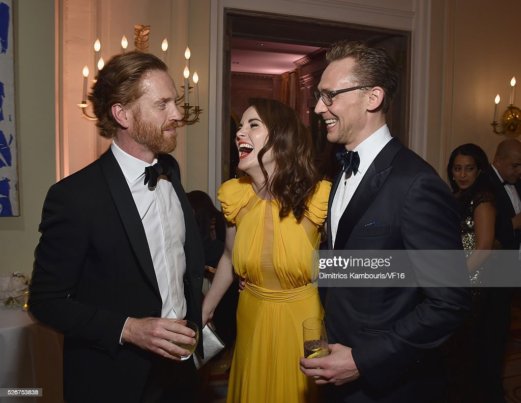 Damian Lewis, Michelle Dockery and Tom Hiddleston attend the Bloomberg & Vanity Fair cocktail reception following the 2015 WHCA Dinner at the residence of the French Ambassador on April 30, 2016 in Washington, DC.