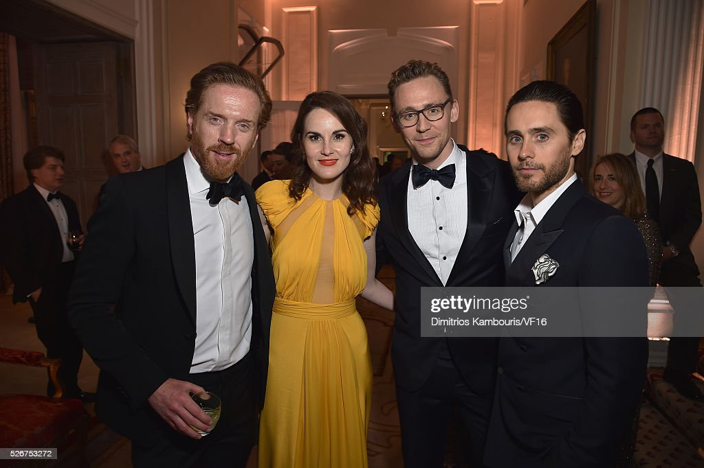 Damian Lewis, Michelle Dockery, Tom Hiddleston, Jared Leto attend the Bloomberg & Vanity Fair cocktail reception following the 2015 WHCA Dinner at the residence of the French Ambassador on April 30, 2016 in Washington, DC.