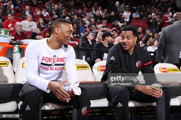 Damian Lillard and CJ McCollum of the Portland Trail Blazers are seen before the game against the New York Knicks on March 23 2017 at the Moda Center...