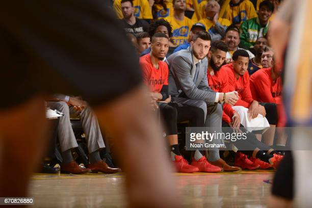 Damian Lillard and Jusuf Nurkic of the Portland Trail Blazers sit on the bench during Game Two of the Western Conference Quarterfinals against the...