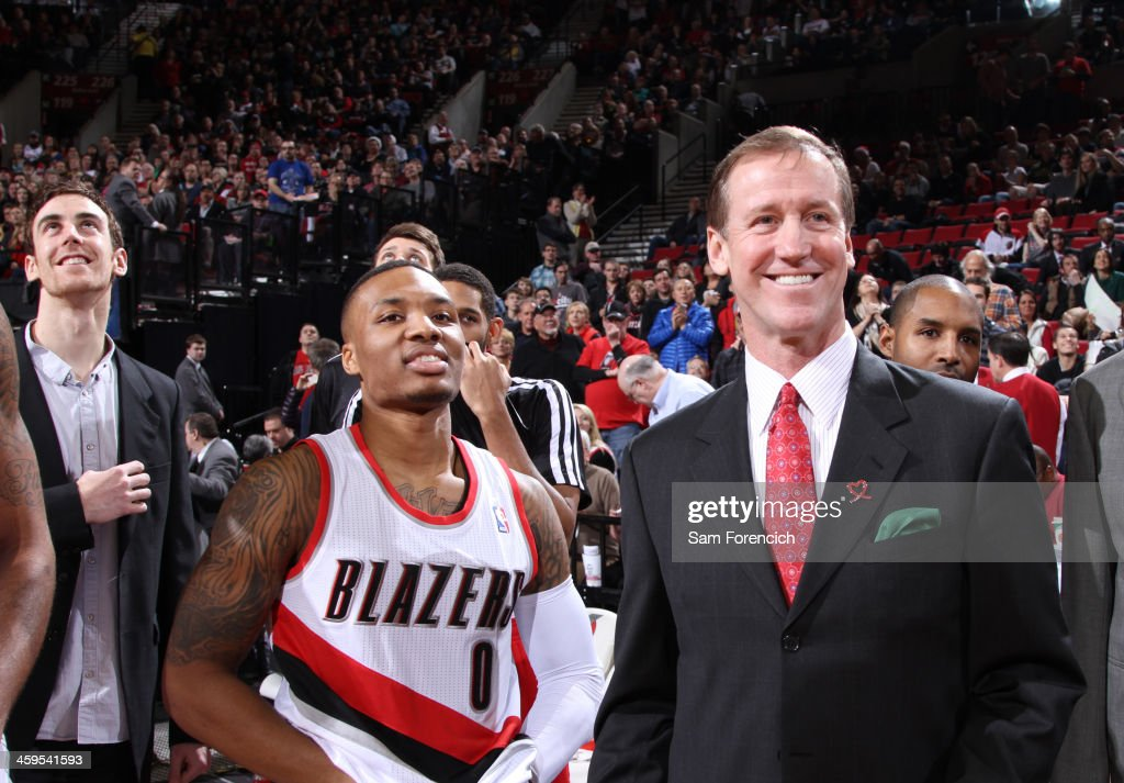 <a gi-track='captionPersonalityLinkClicked' href=/galleries/search?phrase=Damian+Lillard&family=editorial&specificpeople=6598327 ng-click='$event.stopPropagation()'>Damian Lillard</a> #0 and <a gi-track='captionPersonalityLinkClicked' href=/galleries/search?phrase=Terry+Stotts&family=editorial&specificpeople=653534 ng-click='$event.stopPropagation()'>Terry Stotts</a> of the Portland Trail Blazers smile after the game against the New Orleans Pelicans on December 21, 2013 at the Moda Center Arena in Portland, Oregon.