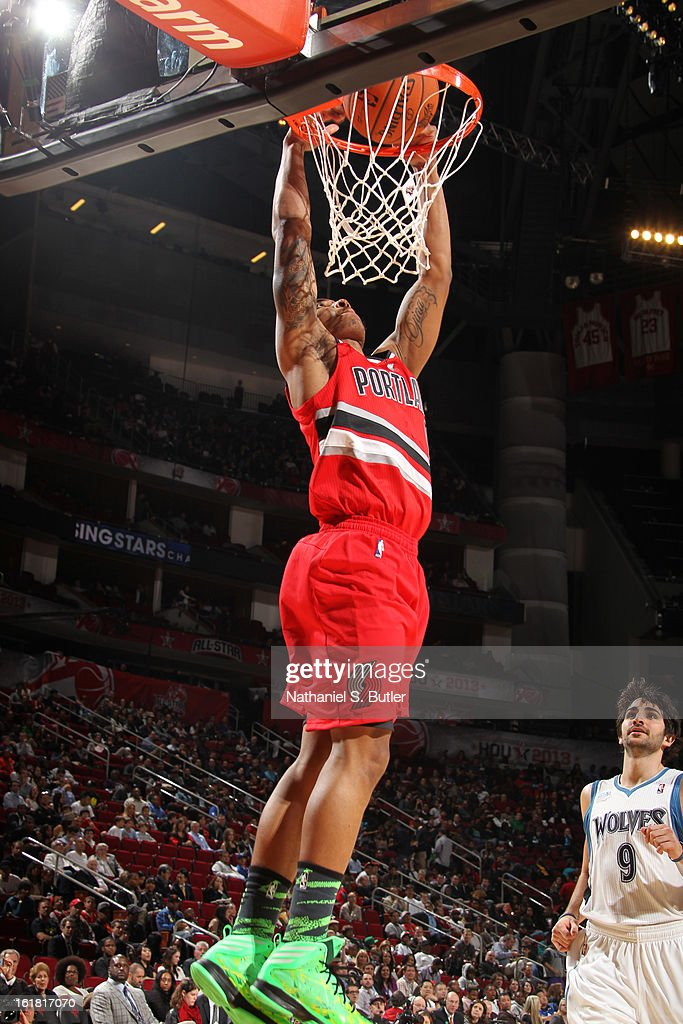 Damian Lillard #0 of Team Shaq dunks while playing against Team Chuck during the 2013 BBVA Rising Stars Challenge at Toyota Center on February 15, 2013 in Houston, Texas.