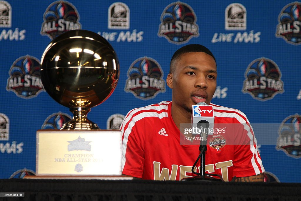 <a gi-track='captionPersonalityLinkClicked' href=/galleries/search?phrase=Damian+Lillard&family=editorial&specificpeople=6598327 ng-click='$event.stopPropagation()'>Damian Lillard</a> #0 of the Portland Trail Blazers addresses the media during State Farm All-Star Saturday Night as part of the 2014 All-Star Weekend at Smoothie King Center on February 15, 2014 in New Orleans, Louisiana.