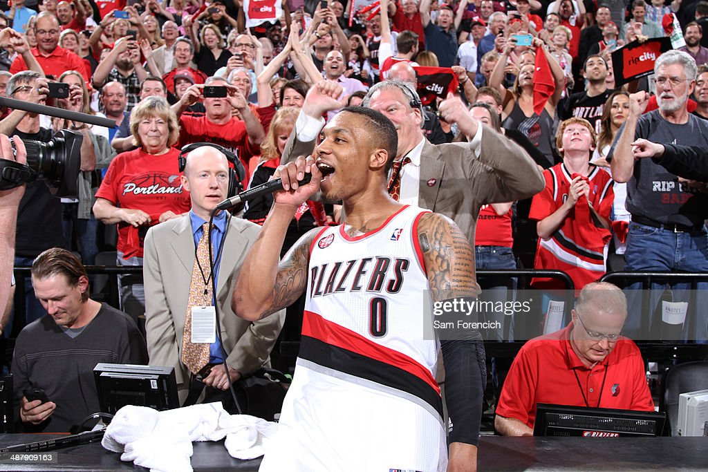 Damian Lillard of the Portland Trail Blazers after the game against the Houston Rockets in Game Six of the Western Conference Quarterfinals during...