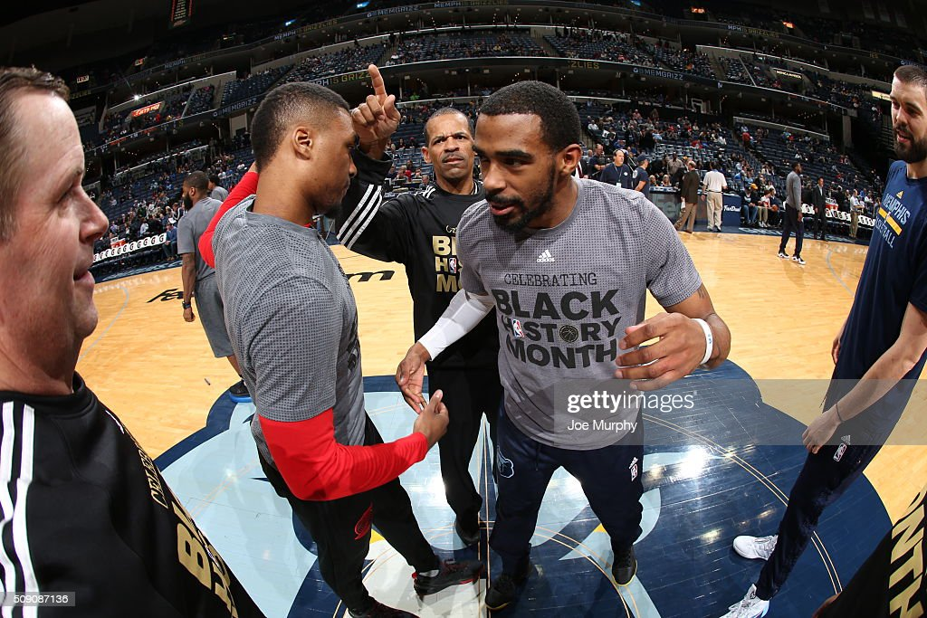 <a gi-track='captionPersonalityLinkClicked' href=/galleries/search?phrase=Damian+Lillard&family=editorial&specificpeople=6598327 ng-click='$event.stopPropagation()'>Damian Lillard</a> #0 of the Portland Trail Blazers and Mike Conley #11 of the Memphis Grizzlies shake hands before the game on February 8, 2016 at FedExForum in Memphis, Tennessee.