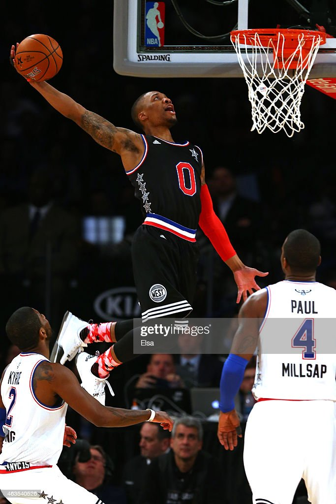 <a gi-track='captionPersonalityLinkClicked' href=/galleries/search?phrase=Damian+Lillard&family=editorial&specificpeople=6598327 ng-click='$event.stopPropagation()'>Damian Lillard</a> #0 of the Portland Trail Blazers and the Western Conference dunks the ball in the second half during the 2015 NBA All-Star Game at Madison Square Garden on February 15, 2015 in New York City.