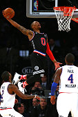 Damian Lillard of the Portland Trail Blazers and the Western Conference dunks the ball in the second half during the 2015 NBA AllStar Game at Madison...